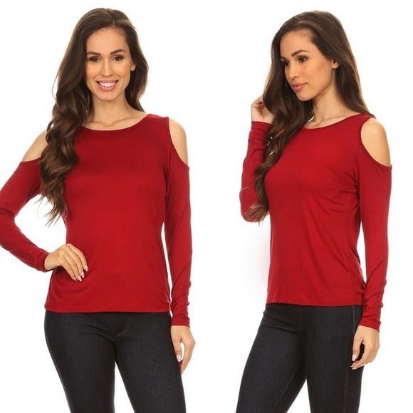 87f6ec8079555 Rayon Blend Knit Burgundy Red Cold Shoulder Top